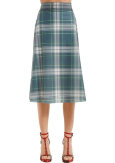 Burberry Runway Ss18 Check Printed Midi Skirt