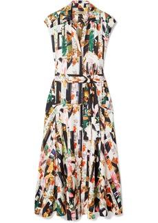Burberry Sacha Belted Printed Silk-twill Midi Dress