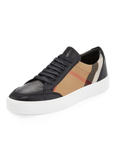 Burberry Salmond Check & Leather Low-Top Sneakers