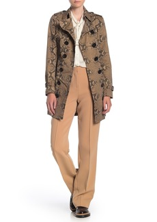 Burberry Sandring Snake Skin Print Double Breasted Trench Coat