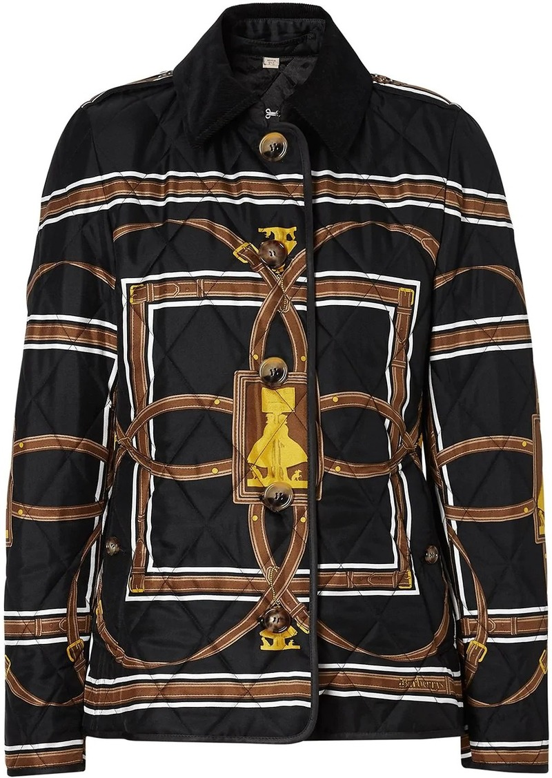 Burberry scarf print quilted jacket