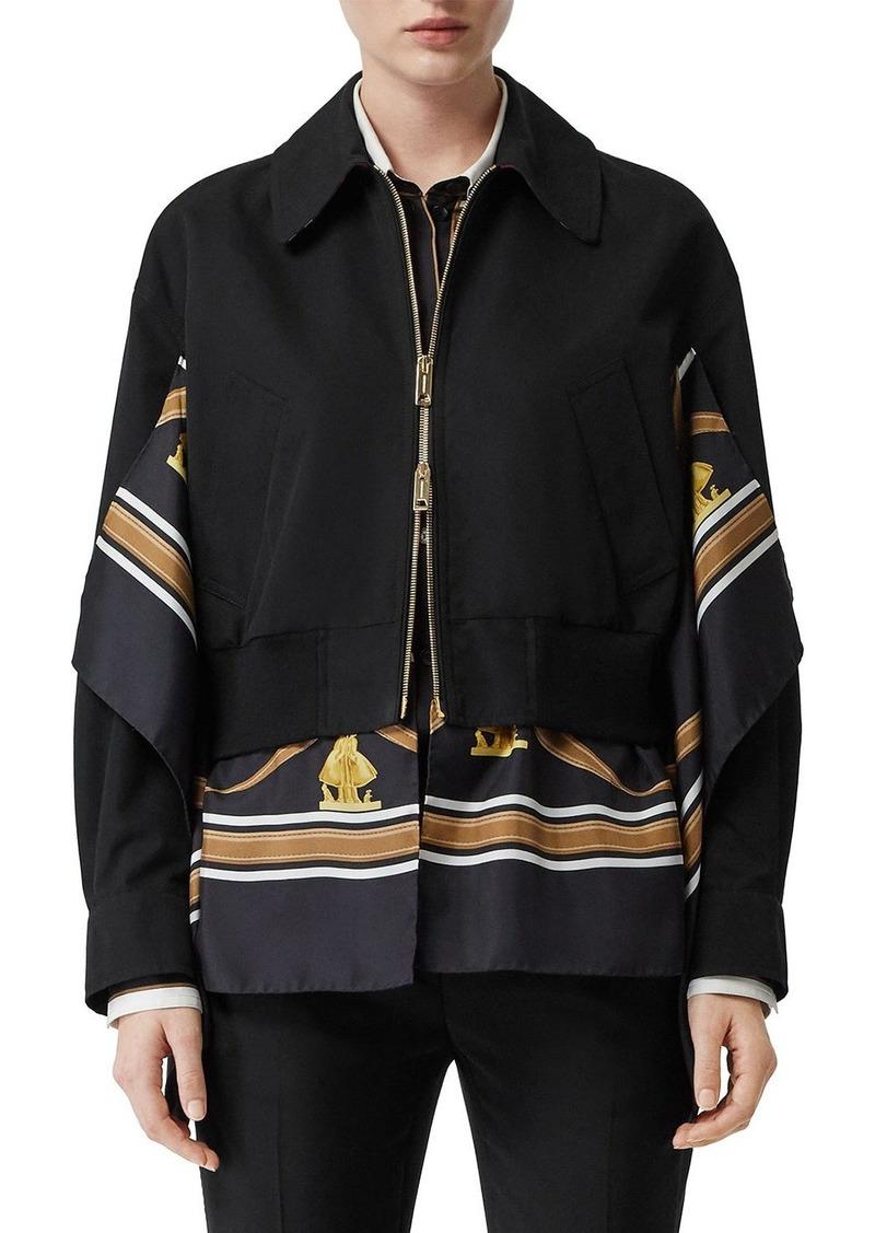 Burberry Scarf-Trim Bomber Jacket