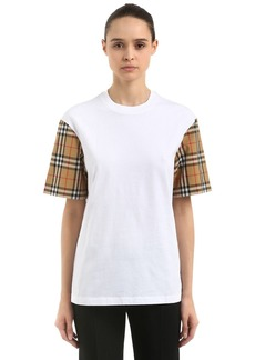 e0355457f9 Burberry Serra Jersey T-shirt W  Check Sleeves