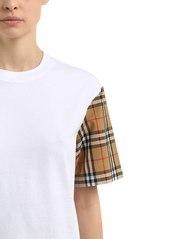 8503701319 ... Burberry Serra Jersey T-shirt W  Check Sleeves ...