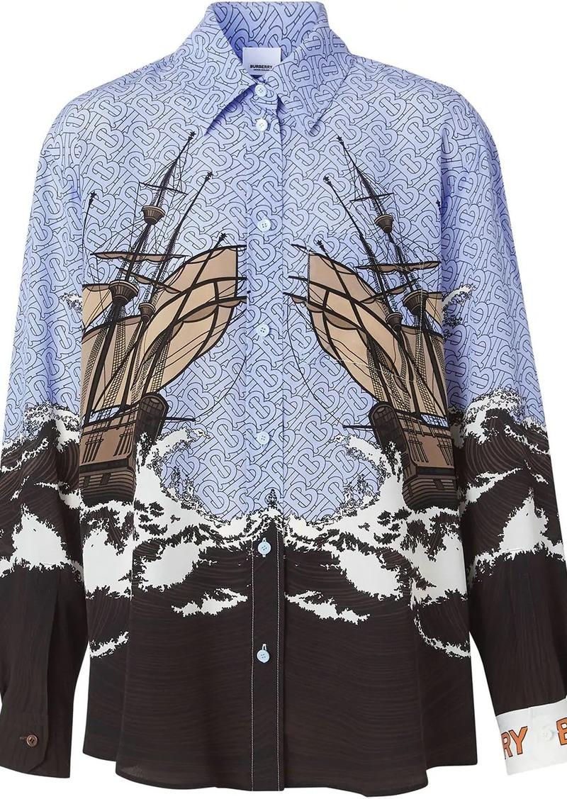 Burberry Ship Print Silk Oversized Shirt and Tie Twinset