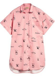 Burberry Short-sleeve Archive Logo Print Stretch-cotton Shirt