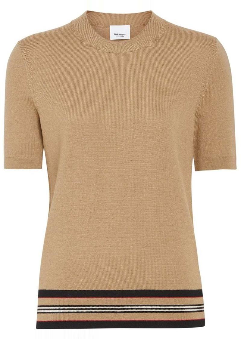 Burberry Short-sleeve Icon Stripe Detail Merino Wool Top