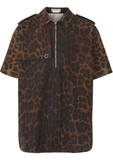 Burberry Short-sleeve Leopard Print Cotton Shirt