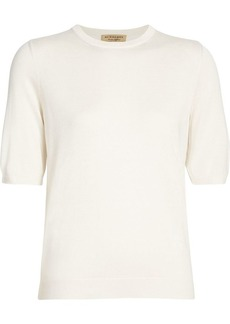 Burberry Short-sleeve Silk Cashmere Sweater