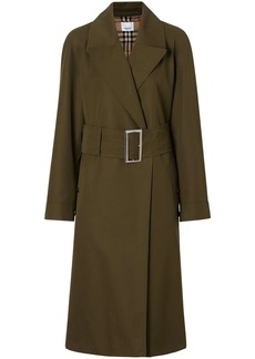 Burberry Side-slit Cotton Gabardine Belted Coat