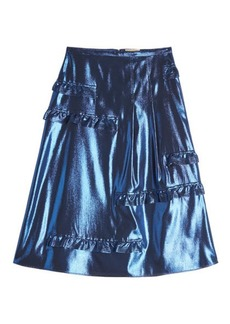 Burberry Silk Metallic Skirt