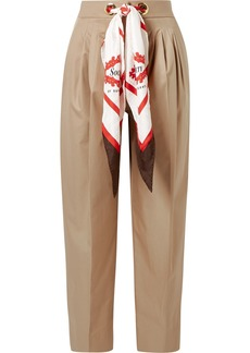 Burberry Silk-trimmed Pleated Cotton-twill Tapered Pants