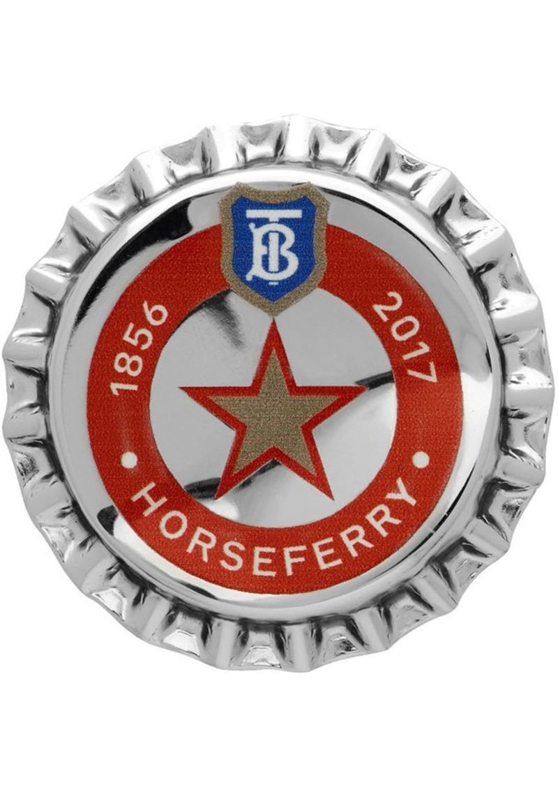 Burberry Silver Bauhaus Bottle Cap Pin