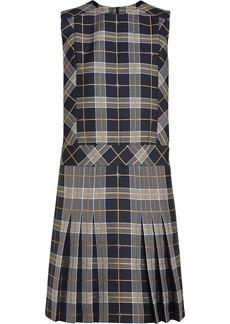 Burberry Sleeveless Pleat Detail Check Dress