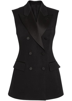 Burberry Sleeveless Stretch Wool Double-breasted Jacket