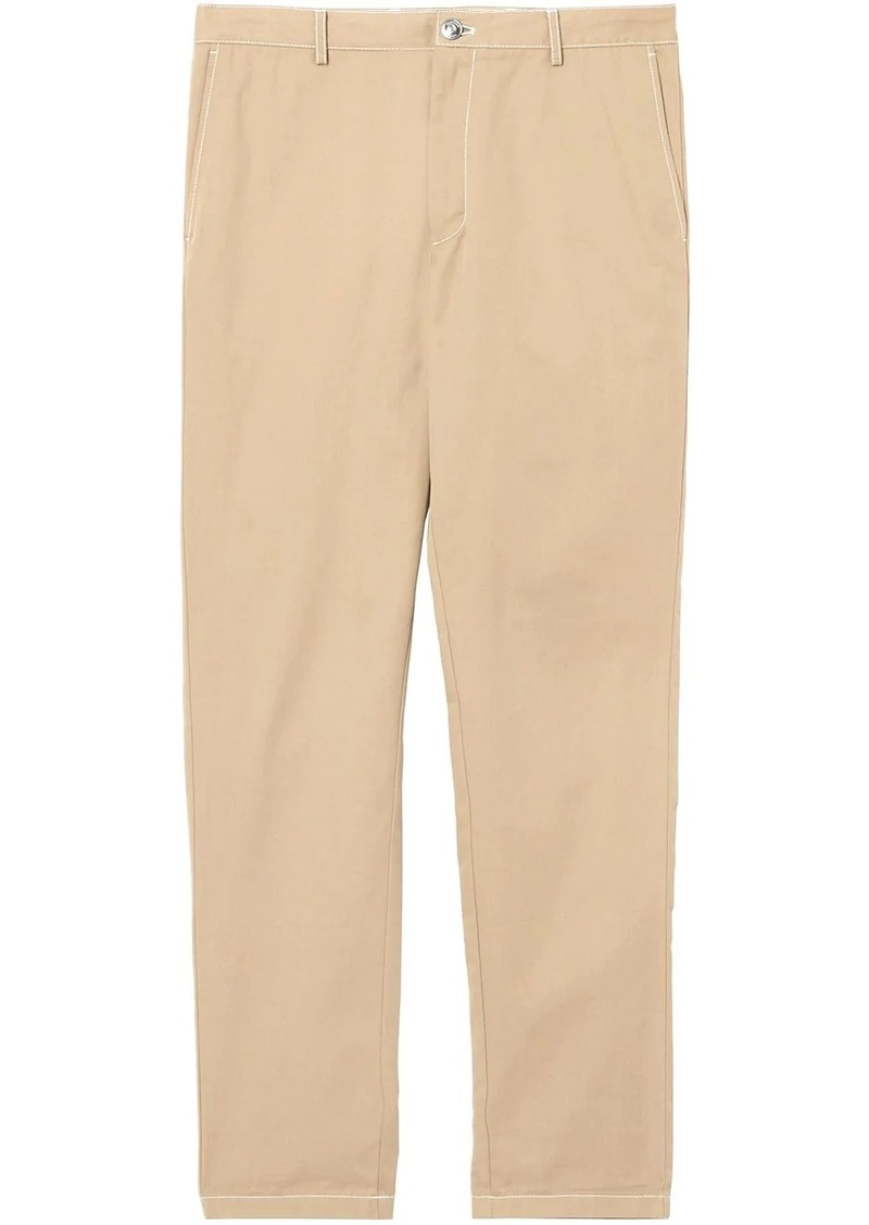 Burberry slim fit topstitch detail chinos