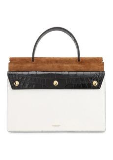 Burberry Sm Title Pocket Leather Top Handle Bag