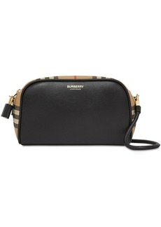 Burberry Small Cube Leather & Canvas Shoulder Bag