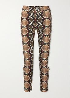 Burberry Snake-print High-rise Slim-leg Jeans
