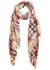Burberry Splash Print and Check lightweight scarf