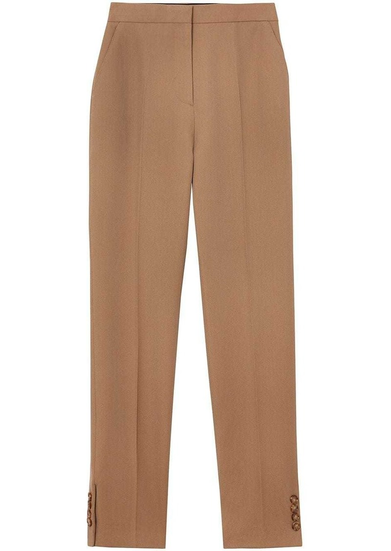 Burberry Straight Fit Button Detail Wool Blend Tailored Trousers