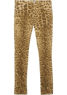 Burberry Straight Fit Leopard Print Japanese Denim Jeans