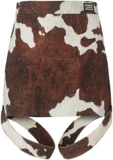 Burberry Strap Detail Animal Print Cotton Linen Mini Skirt
