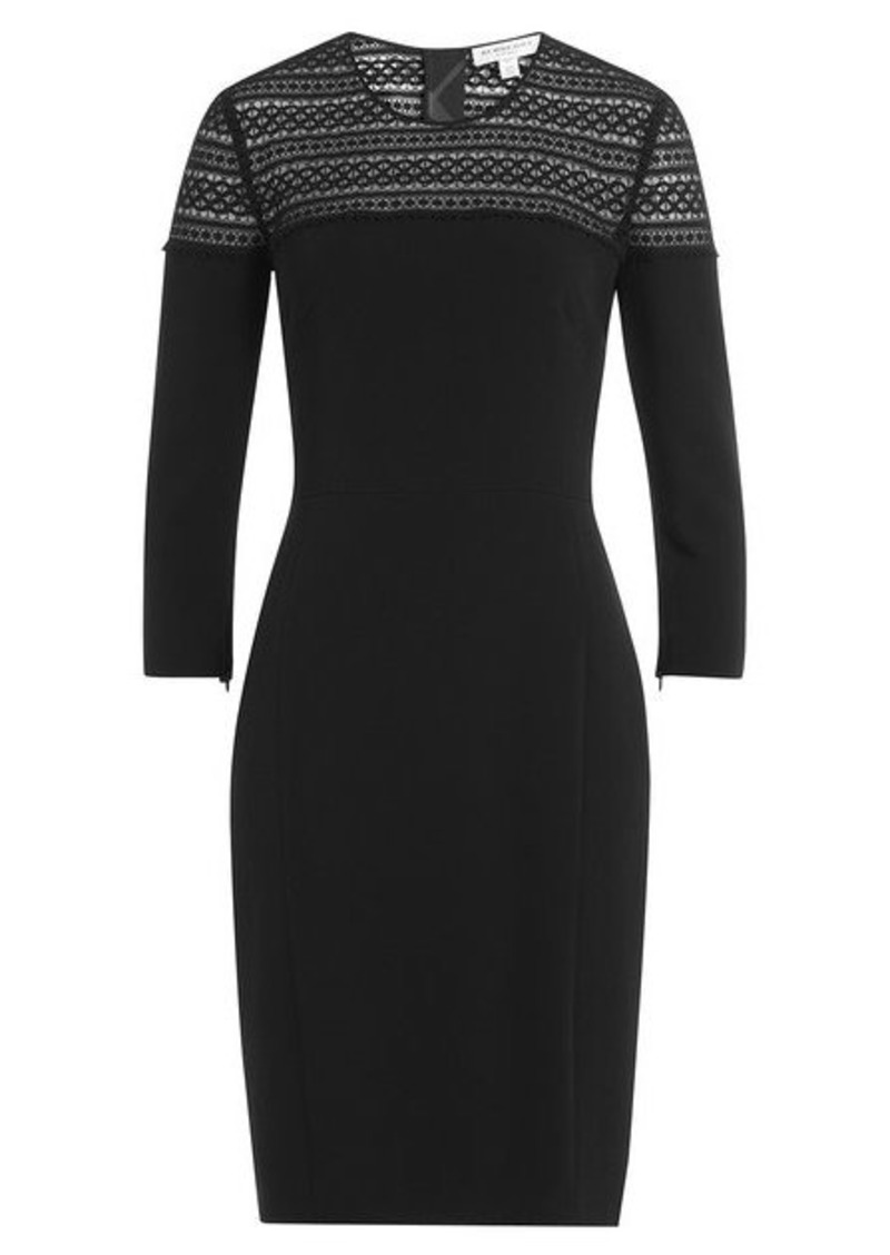 Burberry Stretch Cotton Sheath with Lace Crochet Top