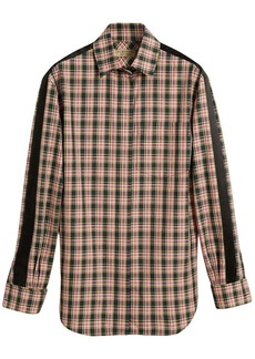Burberry Stripe Detail Check Cotton Silk Shirt