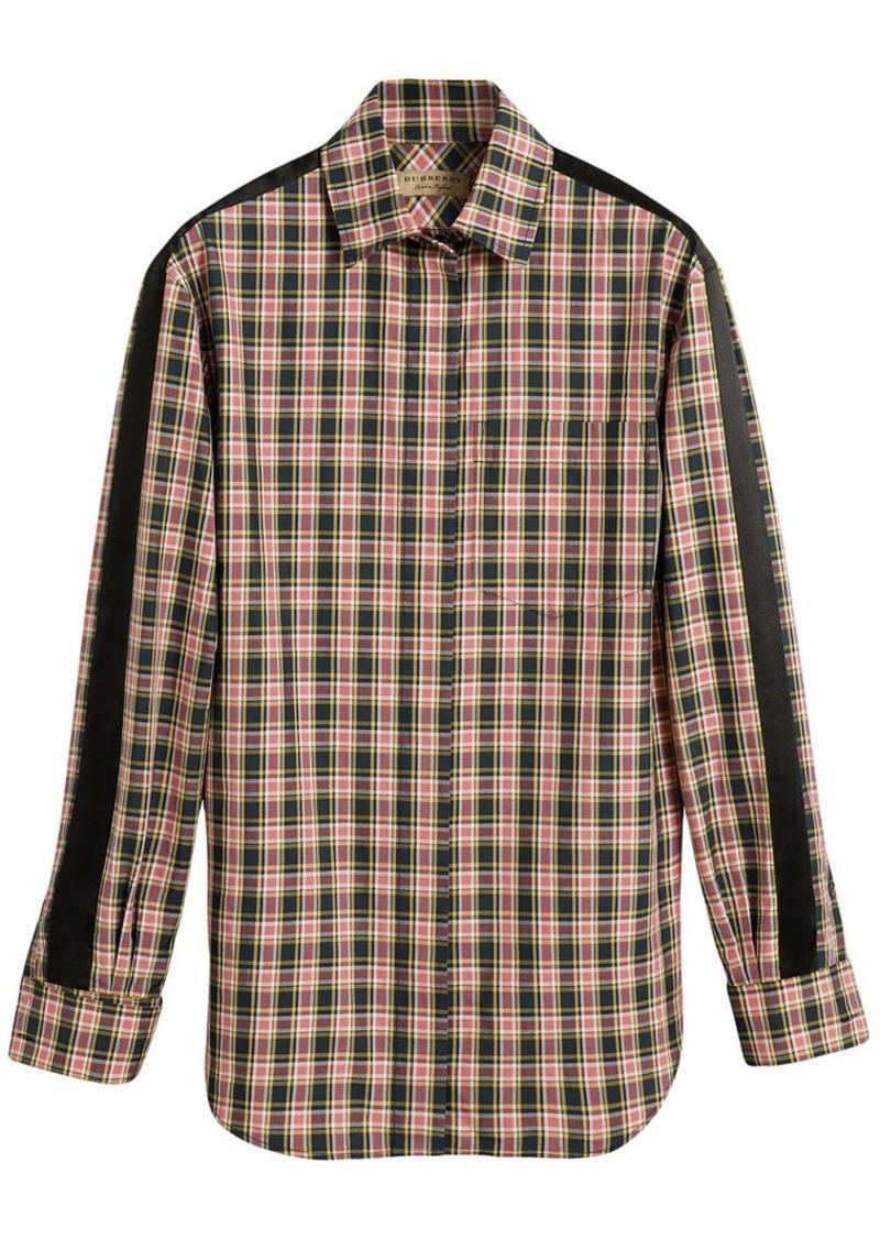 Burberry Stripe Detail Check Cotton Silk Shirt