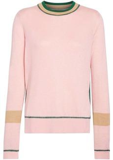 Burberry Stripe Detail Silk Cashmere Longline Sweater