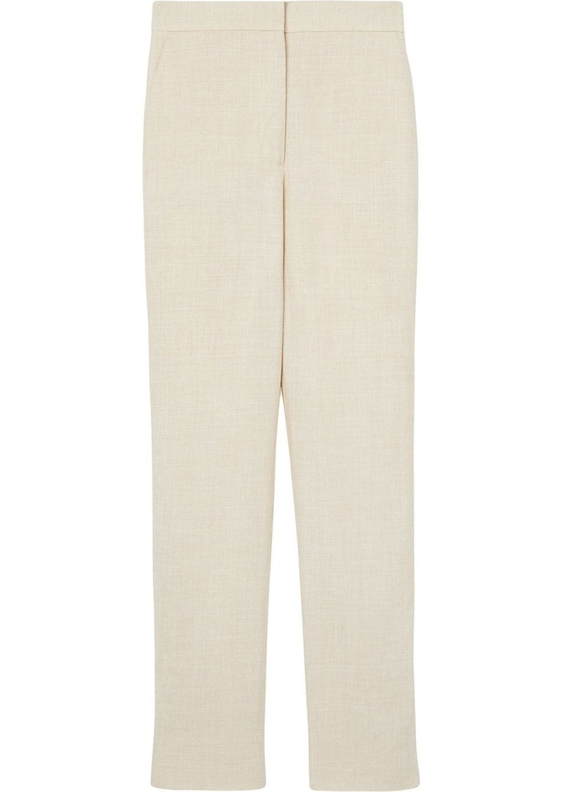 Burberry Stripe Detail Wool Silk Linen Tailored Trousers