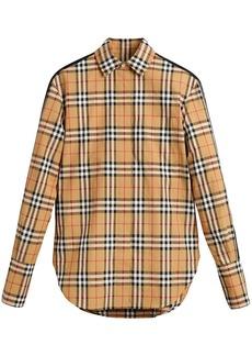 Burberry stripe dtail vintage check cotton shirt