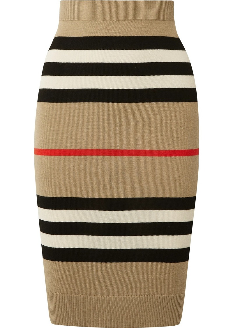 Burberry Striped Merino Wool Skirt