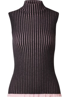 Burberry Striped ribbed cashmere and silk-blend turtleneck top