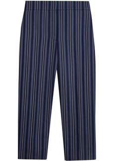 Burberry Striped Wool Blend Cropped Trousers