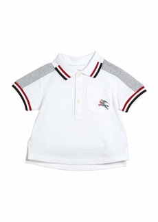 Burberry Tai Two-Tone Striped-Trim Short-Sleeve Polo