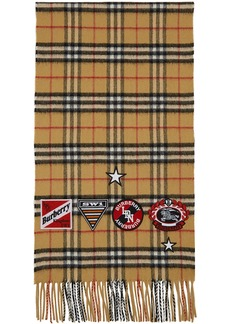 Burberry Tan Vintage Check Cashmere Badge Scarf