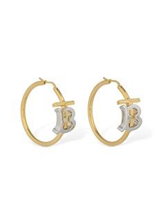 Burberry Tb Bicolor Logo Hoop Earrings