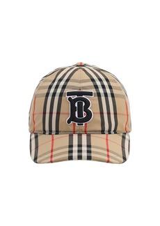 Burberry Tb Logo Check Cotton Canvas Baseball Hat