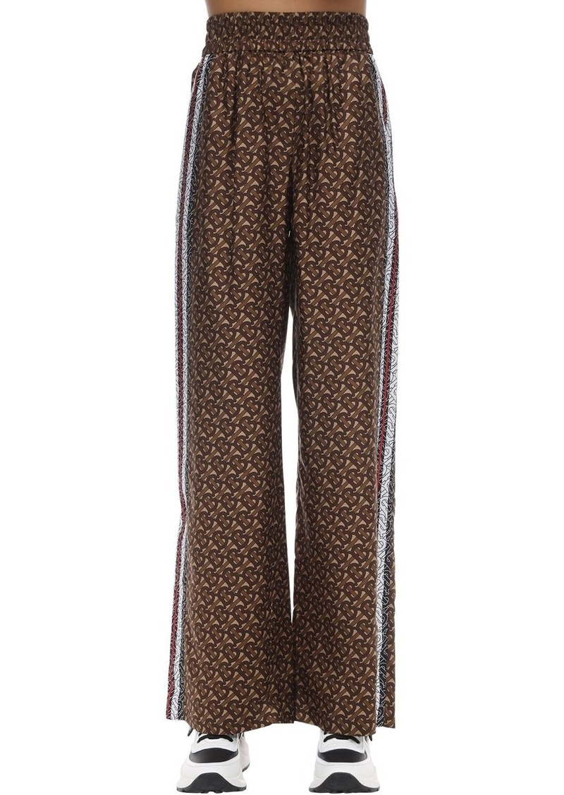 Burberry Tb Logo Wide Leg Mulberry Silk Pants