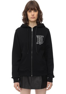 Burberry Tb Logo Zip-up Cotton Jersey Hoodie
