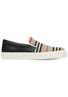 Burberry Thompson Tech & Leather Slip-on Sneakers