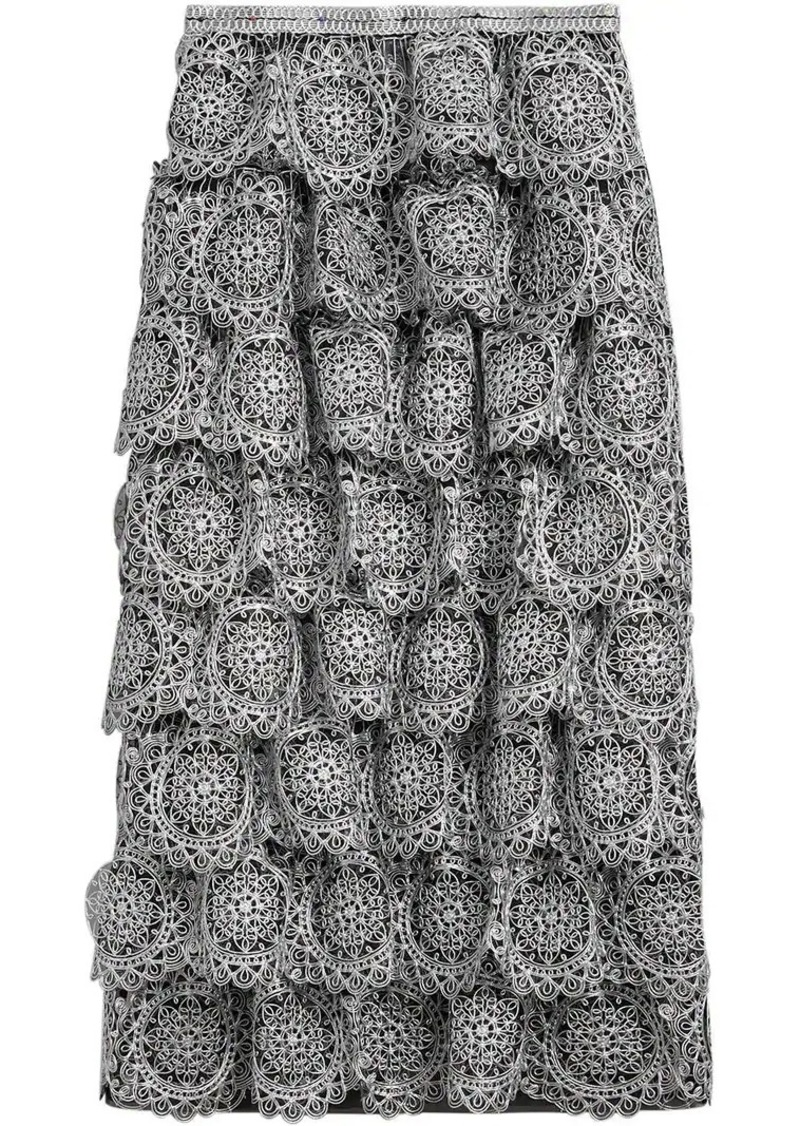 Burberry Tiered Silicone Lace Skirt