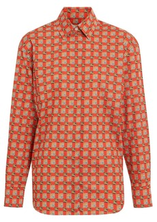 Burberry Tiled Archive Print Cotton Shirt