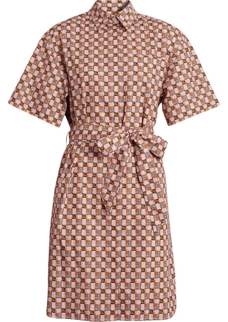 On Sale Today Burberry Tiled Archive Print Cotton Shirt Dress