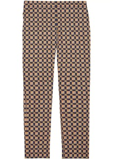 Burberry Tiled Archive Print Stretch Cotton Cigarette Trousers