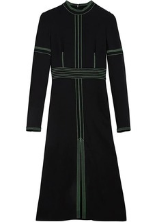 Burberry topstitch detail crepe dress