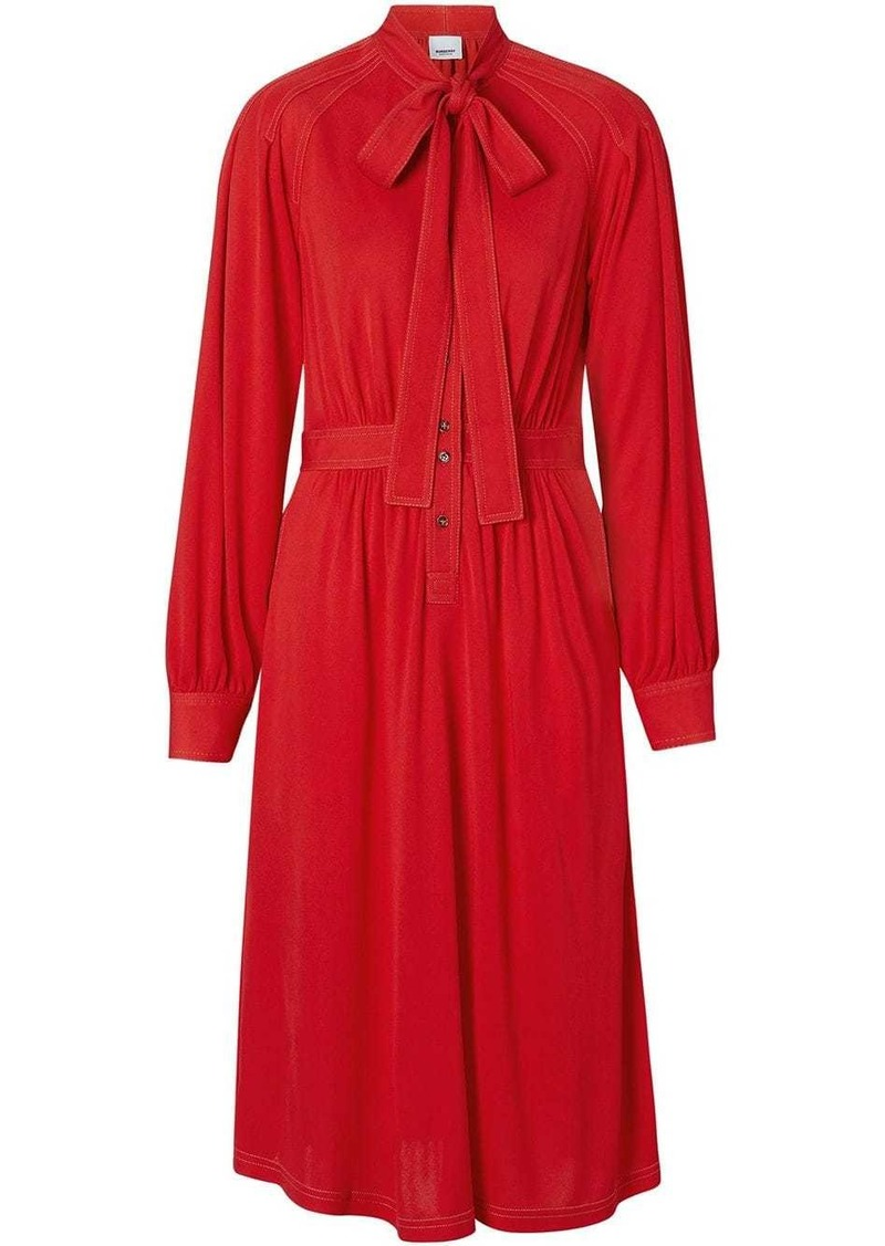 Burberry Topstitch Detail Jersey Tie-neck Dress