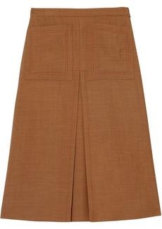 Burberry Topstitch Detail Wool Silk Mohair Linen A-line Skirt